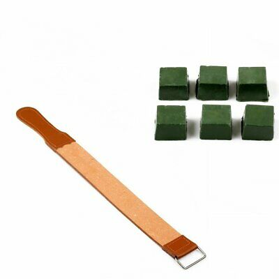 Real Leather Sharpening Wood Handle Strop Tool Double Sided Polish Compound DIY