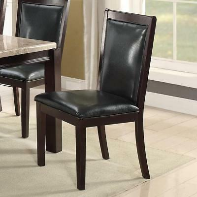 Dining Chair With Cushioned Seat And Back Set Of 2 Black