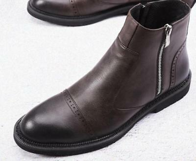 retro classic Mens Leather Warm  Low Heel Casual Chelsea Side Zipper Ankle Boots