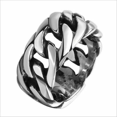 Mens Gothic Punk Skull Biker Jewelry Stainless Steel Motorcycle Chain Rings 8-11