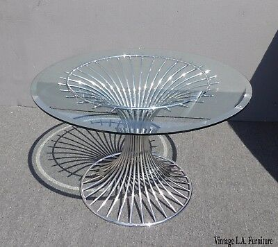 Platner Reproduction Mid-Century Modern Chrome Glass Top Dining Table