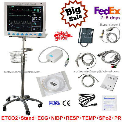 CO2 CAPNOGRAPH PORTABLE Vital Signs ICU Patient Monitor with Rolling Stand  FDA