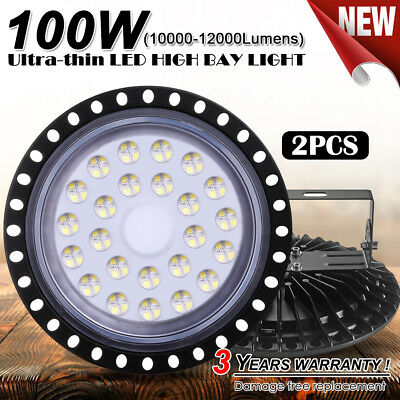 New 2X 100W UFO LED High Bay Light Lamp Factory Warehouse Gym Industrial Shed