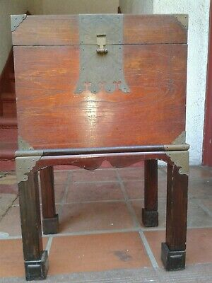 """Unique gift 30s 40s 50s Storage Box Stand Wood Brass Chinese old 25"""" HI X16"""""""