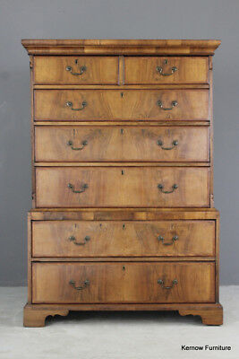 Antique 19th Century Walnut Chest on Chest Drawers