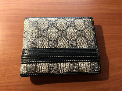 02b54c4b0e84 GUCCI MENS LEATHER Bifold wallet 100% Authentic with purchase receipt and  box