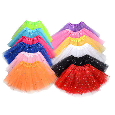 Girls 3 Layers Mesh Sequins Dance Party Performance Princess Tutu Skirt Funny