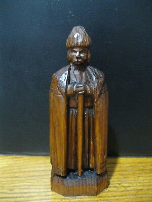 vintage Hand Carved Wood Figure Bearded Man with Staff Wearing Tunic Cape