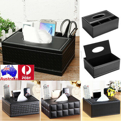 Leather Tissue Box Cover Paper Napkin Storage Box Case Holder Car Home Room