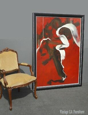 Large Red & Black Oil on Canvas Abstract PAINTING Picture