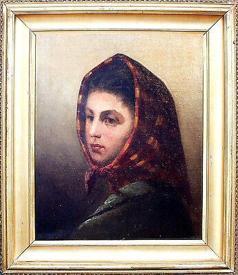 """Antique Canadian Painting WILLIAM RAPHAEL 'Head of a Girl', 18"""" x 15"""""""