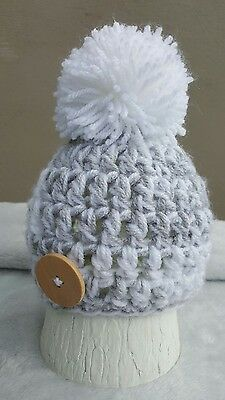 Hand Crochet/knit Newborn Baby Boy Pom Pom Beanie Hat , Gift , Photo Prop
