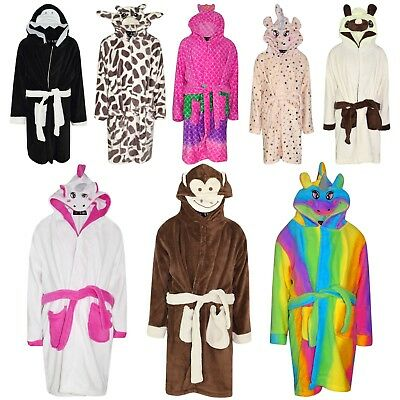 Kids Girls Bathrobe 3D Animal Dressing Gown Fleece Nightwear Loungewear 2-13 Yrs
