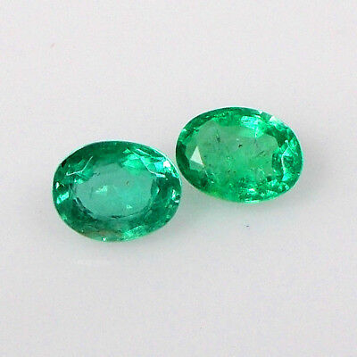 1.84CT Natural Earth Mined Emerald Oval Top Green Luster Matching Pair Gems