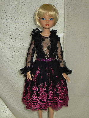 Black & Pink Lace Party Skirt & Lace Blouse/Top Outfit for Ellowyne Wilde