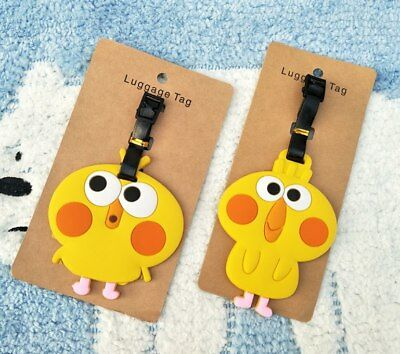 yellow parrot Anime Luggage Tag PVC Travel Label boarding tags new