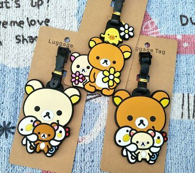 Cute Rilakkuma Anime Luggage Tag PVC Travel Label boarding tags new