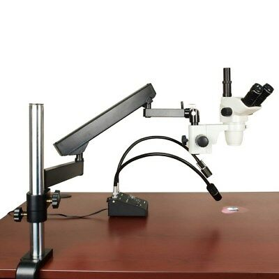 6.7X-45X Articulating Arm Trinocular Stereo Zoom Microscope+6W Gooseneck Light