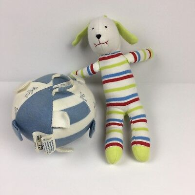 Under The Nile Organic Egyptian Cotton Baby Toys Scrappy Dog Blue Ball