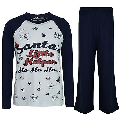Kids Boys Girls PJs Navy Santas Little Helper Stylish Contrast Pajamas Set 5-13