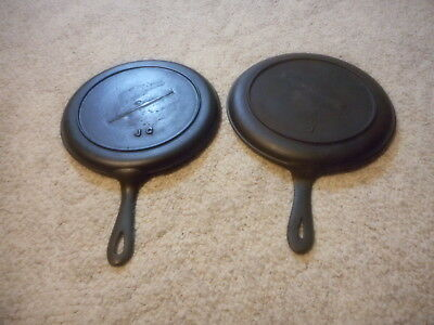 Set 2 Antique Cast Iron  #8 Griddle Fry Pan Gate Mark Heat Ring