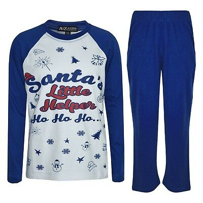 Kids Boys Girls PJs Royal Santas Little Helper Stylish Contrast Pajamas Set 5-13