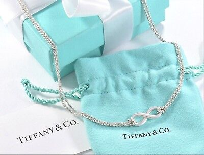 Tiffany & Co Sterling Silver Infinity Pendant Double Chain Necklace IN PACKAGING