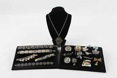 20 True Vintage SOUVENIR JEWELLERY inc. Charm Bracelets, Brooches, Enamel Crests