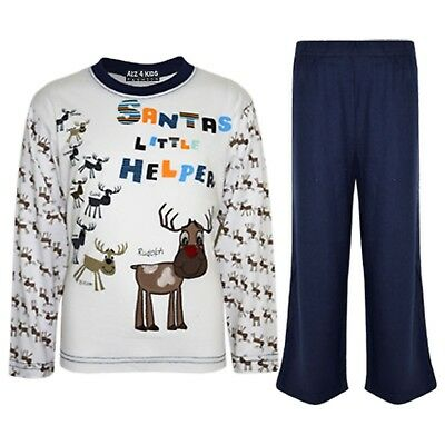"Kids Boys Girls Navy ""SANTAS LITTLE HELPER"" Christmas Pyjamas Reindeer Rudolph"