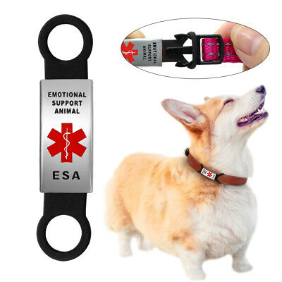 Emotional Support Animal Dog Slide on Collar Tag No Noise ESA Service Pet Tags