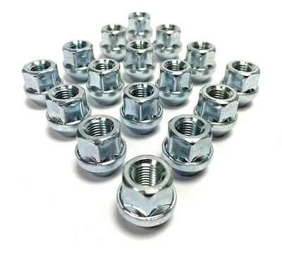 16x M12 x 1.5, 19mm Hex, Tapered Seat,Open Alloy Wheel Nuts (Silver) Ford Fiesta