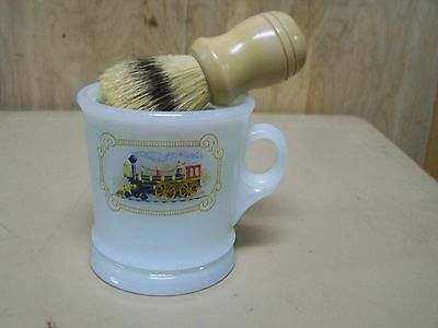 Vintage Avon Milk Glass Locomotive Train Shaving Mug w/brush & soap
