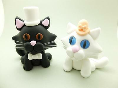 Bride And Groom Cats Polymer Clay Unique Couple Set Pair Artist