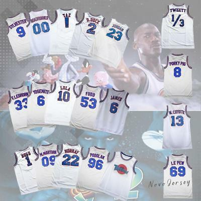 Space Jam Tune Squad Loone Tunes  Basketball Jersey All Names White S-3XL