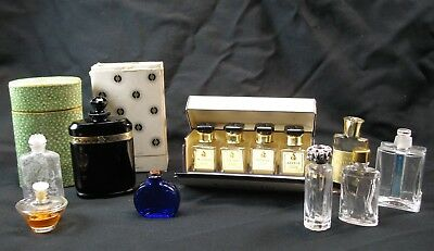 Group of Mostly Empty Perfume Collectible and Miniature Bottles Vtg Caron Incl