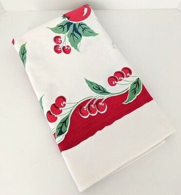 """Vintage Tablecloth 53 X 70"""" White Red Cherries Grapes Apples Cotton No Tag"""