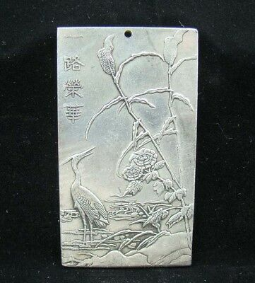 Collectable Handmade Carved Statue Tibet Silver Amulet Pendant crane