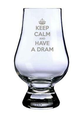 "Glencairn Whisky Tasting Glass - ""Keep Calm and Have A Dram"". Made in Scotland"