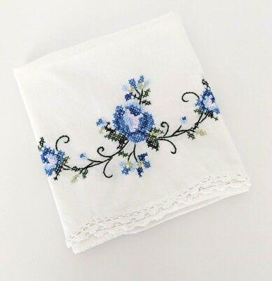 Vintage Hand Embroidered Standard Size Pillowcase White Blue Floral No Tag