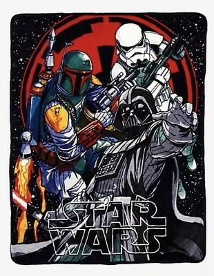 Star Wars Darth Vader Dark Side Boba Fett Stormtrooper Super Soft Throw Blanket