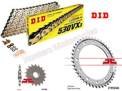 Honda VFR800 Vtec 2003 Model DID Gold X-Ring Chain & JT Sprockets Kit Set