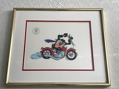 Warner Bros Looney Tunes Tasmanian Devil Taz Motorcycle Framed Le Sericel 2397