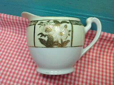 Antique Noritake Handpainted Japan  Fine China Cream Gold Creamer - rare