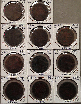 Coin lot - German East Africa Pesa / four 1891 & seven 1892 1-pesa coins 1800s