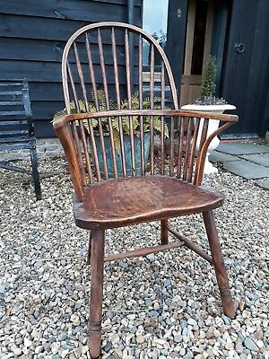 Rare Early 19th Century Dug Out Captains capstan Chair