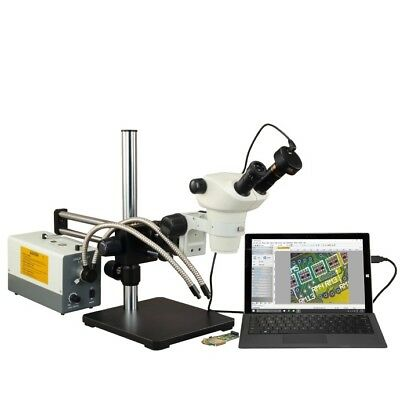 3X-300X Stereo Microscope+Bearing Slide Arm Boom Stand+Cold Light+Camera+Barlows
