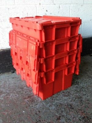 5 x Plastic storage boxes/crates, Tote box, Self Storage, Stackable Boxes
