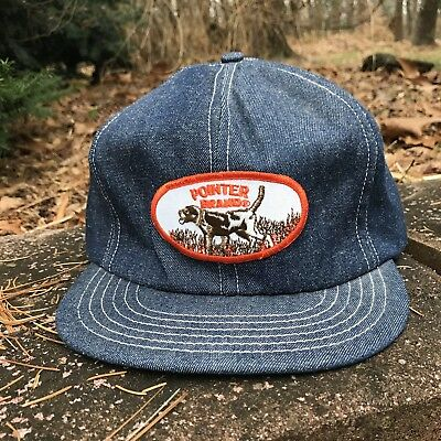 Vintage Denim Trucker Hat Cap Made In Usa Pointer Brand Patch Snapback