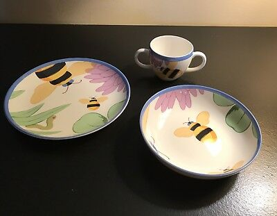TIFFANY & CO Childs 3 Pc BUZZ BUZZ China Dish Set Plate Bowl Cup Bumble Bee NEW