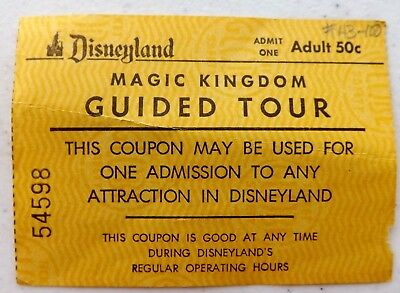 VINTAGE 1950-60s DISNEYLAND MAGIC KINGDOM GUIDED TOUR 50 CENT ADULT TICKET